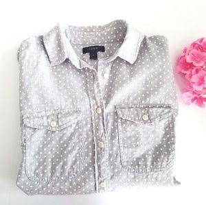 J.Crew | Gray Flannel Polka Dot The Perfect Shirt